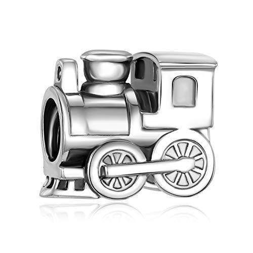 Cuentas de plata fina 925 genuina locomotora Choo Choo estilo europeo para joyería y brazaletes