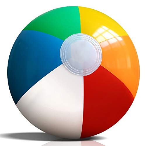 Bolas de playa inflables de Novelty Place, paquete de 12, 8.7 pulgadas de diámetro, colores arco iris brillantes, PVC a prueba de fugas, de playa de verano, juguetes flotantes para niños, adolescentes