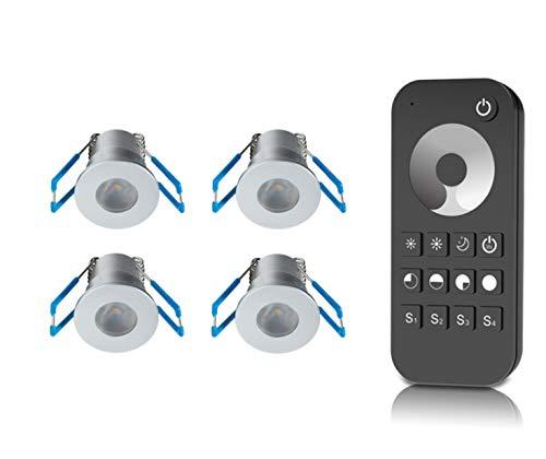 1W LED Mini Einbaustrahler, Aluminium, IP65 Wassergeschützt, 3000K Warmweiß, Dimmbar, Mini-Einbauleuchten für Innen- und Außen, ideal für Terrassendach, Bad, Dusche uvm (Silber, 4er-Set)