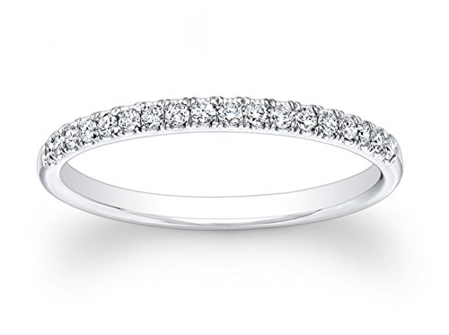 Clara Pucci 0.85 ct Brilliant Round Cut Wedding Promise Bridal Engagement Band in Solid 14K White Gold, Size 4.5