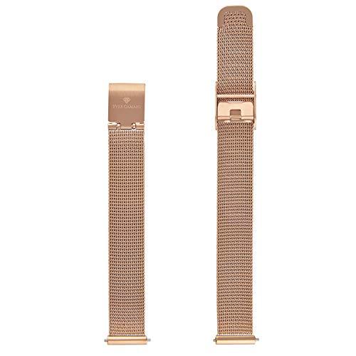 YVES CAMANI Uhrenarmband Milanaise Edelstahl-Armband 13mm 18mm 20mm mit Schnellwechsel Federsteg (13mm, Milanaise - Rosegold)