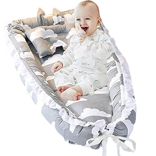 Abreeze Baby Bassinet for Bed -Grey Clouds Baby Lounger Baby Nest Co-Sleeping Baby Bed Portable Crib Bassinet for Baby Toddler Lounger