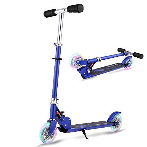 Hikole Scooter for Kids | Scooters Foldable Portable with Adjustable Height Kick Scooter with 2 LED Light Up PU Flashing Wheels, Birthday Gifts for Toddlers Boys Girls Kids Age 4-12 Years Old