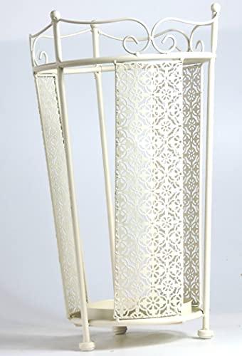 G.B. Portaombrelli cilindrico in Metallo Traforato - INVECCHIATO AD ARTE - Tema Decorazione Floreale - Colore Bianco-Beige