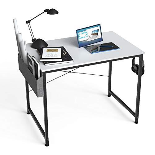 HOMIDEC Escritorio de Ordenador, Mesa de Oficina pequeño, Mesa de Ordenador con Bolsa de Almacenamiento,Fácil de Montar, Mesa de Escritura para Oficina en Casa,80 x 60 x 75 cm (Blanco) 🔥