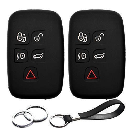 2pcs Compatible with K0BJTF10A Smart Silicone FOB Key Case Cover Protector Keyless Remote Holder for 2010-2019 Jaguar F-Pace F-Type XE X XFR-S XJ XJR XK, Land Rover LR2 LR4 Range Rover Evoque Sport