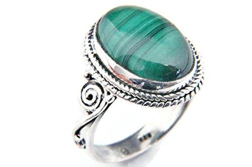 Ring Silber 925 Sterlingsilber Malachit grün Stein (Nr: MRI 66), Ringgröße:62