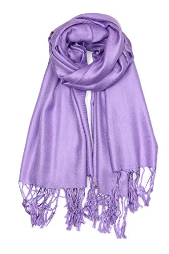 Achillea Soft Silky Solid Pashmina Shawl Wrap Scarf for Wedding Bridesmaid Evening Dress … (Light Purple)