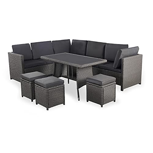 Life Interiors: Algarve Outdoor Sofa & Table Set - 9 Seater | Rattan Effect | Modern Patio Furniture | Garden Set | Outdoor Table | Corner Sofa | Conservatory Furniture (Glamorous Grey)