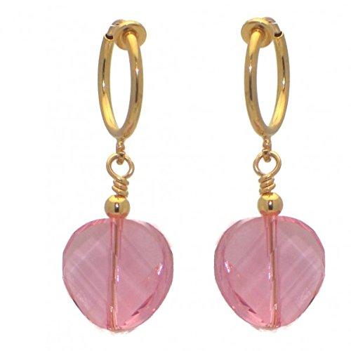 LE TWIST CERCEAU Swarovski Light Rose Crystal Clip su orecchini placcato oro