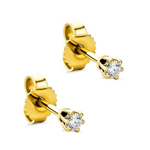 Orovi - Pendientes para mujer con diamantes de oro amarillo