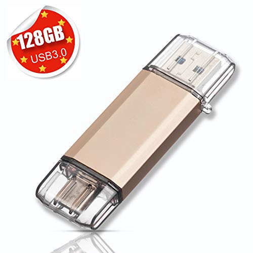 USB Stick 128GB USB C Stick Dual Memory Stick USB 3.0 Flash Drive 2 in 1 Typ-C Speicherstick USB Flash Gold