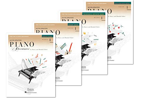 Faber Accelerated Piano Adventures For The Older Beginner Books Set (4 Books) - Lesson 1, Theory 1, Performance 1, Technique & Artistry 1