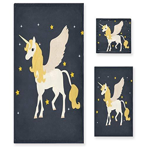 MNSRUU Juego de toallas de unicornio en las estrellas para mujeres y niñas, toallas de baño, toallas de mano y trapos, accesorios de baño absorbentes
