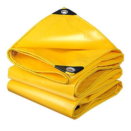 KNDJSPR Lona Impermeable 6 * 6, plástico Amarillo Grueso con Ojales de Metal Refugio de Emergencia para Lluvia, Cubierta Exterior de amarres, Resistente al Polvo y al Desgaste