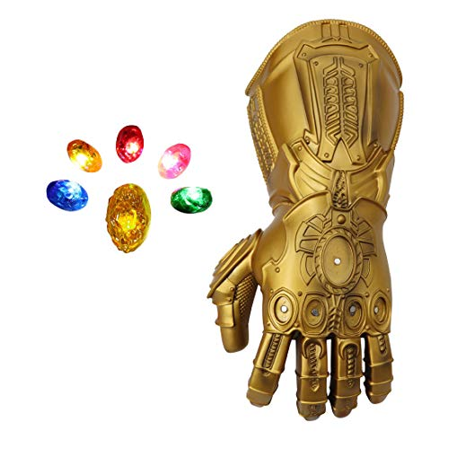 Bulex Infinity Gauntlet for Adult, Infinity War PVC Light Up Gloves Iron Man Glove LED with Removable Magnet Infinity Stones (Removable Glove)