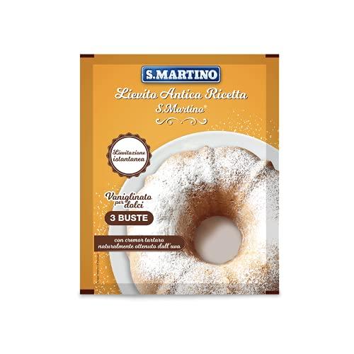 S.MARTINO - Lievito Antica Ricetta Vaniglinato, per Dolci da Forno a Lievitazione Istantanea con Cremor Tartaro Naturale, 3 Buste da 16 g l'una, 48g tot, Senza Glutine, Made in Italy