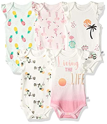 Rosie Pope Baby Newborn 5-Pack Bodysuits, Living The Life, 0-3 Months