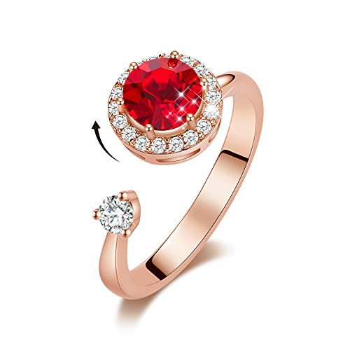 CDE Women Rotating Birthstone Rings 18K White Gold Plated Open Adjustable Rings Ladies Girls Birthday Gift Size 5-9 (Red, 18ct Rose Gold)