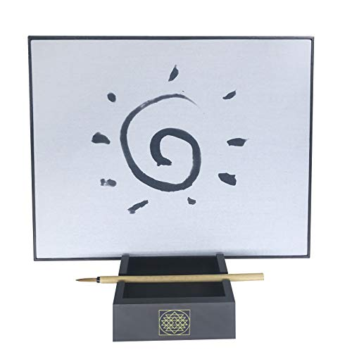 Samadhi Board: Water Drawing Set for Painting, Sketching & Meditation with Natural Wood Brush & Yogic Stand - Adults & Kids
