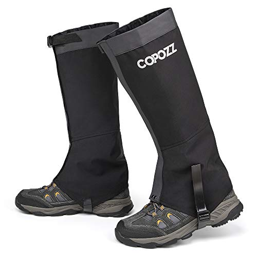 COPOZZ Leg Gaiters Waterproof Snow Boot Shoe Gaiters Leg Cover for Men and Women, Perfect for Outdoor Hunting Hiking Backpacking Skiing Trimming Grass (Black, Large)