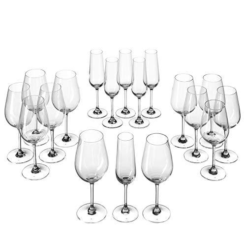 Leonardo Tivoli Kelch-Glas Set, Weißwein-, Rotwein- und Sekt-Gläser, spülmaschinenfeste Kelch-Gläser, 18er Set, 020980