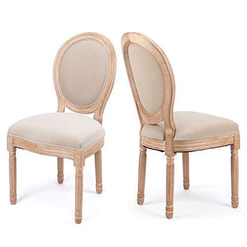 YJCfurniture Dining Chairs French Vintage Distressed Chairs Farmhouse Brown Wood Legs Elegant Tufted Kitchen Chairs, Khaki Upholstered Dining Chair, 2-Pcs Set