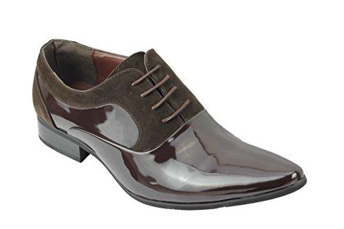 Xposed Herren Wildleder und Patent-glänzende Leder Linie Formal Oxford Lace up Italian Style Schuhe [815-BROWN-43]