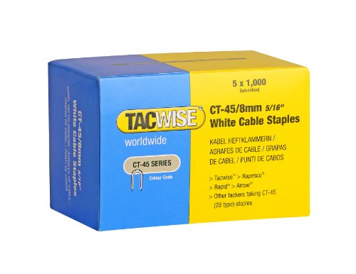 Tacwise 0980 - Grapas de Cables Serie CT-45, color Blanco, 8 mm, Set de 5 Cajas x 1000 Unidades
