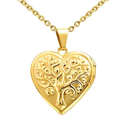 MicLee Herz Medaillon zum Öffnen Baum des Lebens Anhänger Halskette Bilder Foto Amulett Edelstahl Locket Damen Mädchen Modeschmuck Geschenk für Valentinstag Muttertag