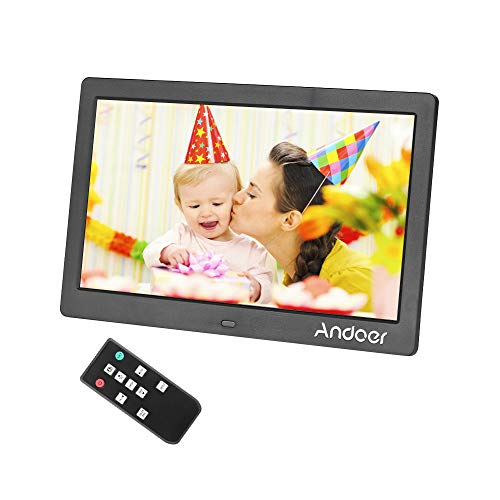 Andoer 15.6 Inch Digital Picture Frame with 16:9 IPS Screen,Widescreen HD Digital Photo Frame Support 1080P Video with Motion Sensor Background Music and Slideshow Mode with Remote Control 8GB SD Card