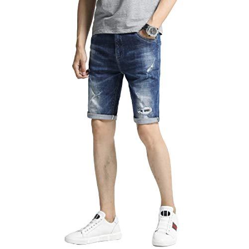 Pantalones Cortos de Mezclilla para Hombre Pantalones Cortos de Mezclilla Rasgados con Personalidad elástica de Verano Pantalones Cortos de Mezclilla Casuales de Moda 32