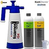 Detailmate Aktivschaum Set: Koch Chemie GSF Gentle Snow Foam 1 Liter, Reinnigungsschaum - Shampoo - Insektenlöser, Green Star Universalreiniger 1 Liter, Kwazar Super Foamer Alkaline + Messbecher 50 ml