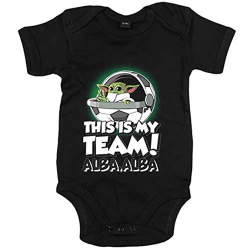Body bebé parodia baby Yoda mi equipo de fútbol Albacete - Negro, 12-18 meses