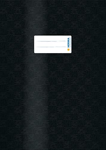 HERMA 7449 Heftumschlag DIN A4 gedeckt mit Baststruktur und Beschriftungsetikett, aus strapazierfähiger und abwischbarer Polypropylen-Folie, 1 Heftschoner für Schulhefte, schwarz