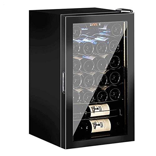 Enfriador de Vino Termostato Enfriador de Vino Hielo para Puros domésticos, Bodega de Vino Soda Cerveza Barra Superior, Puerta de Vidrio Transparente Independiente Digital