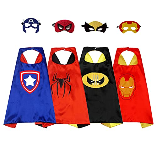 Superhero Capes for Kids Superhero Costumes Halloween Costume Cosplay 3-10 Year Old Boy Gifts Boys Cartoon Dress up Costumes Party