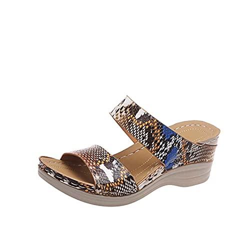 GANE Sandalias de Verano Zapatos Antideslizantes Ropa de Playa Zapatillas para Mujer Zapatillas ortopédicas de tacón de cuña Deslizamiento en Mulas con Punta Abierta