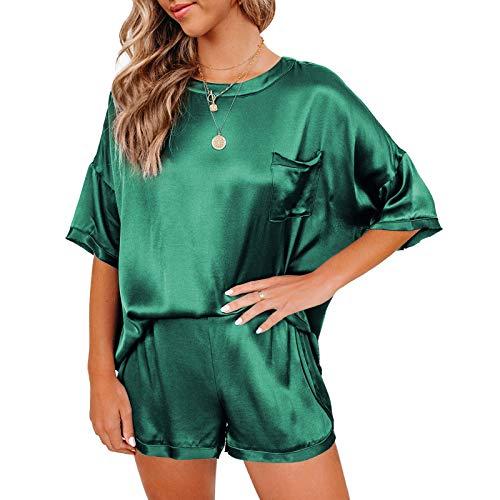 Camiseta de seda premium para mujer, conjunto de pijama informal de casa verde oscuro L