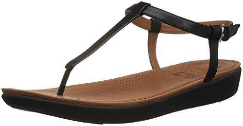 Fitflop Tia Toe-Thong Sandals-Leather, Bout Ouvert Femme, Noir, 43 EU
