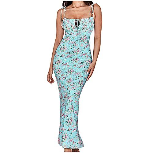 Niangie Oktoberfest Kleider Blumenkleid Ballkleid Partykleid Damen Vintage Rundhalsausschnitt ärmellosen Blumen Bestickt knielangen Cocktailkleid Neckholder Swing Kleid (Light Blue, XXXL)