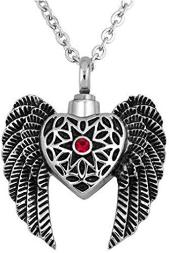 NC122 Collar de cremación Urna Cremación Recuerdo Cenizas Titanio Acero en Forma de corazón Botella de Perfume Colgante de alas