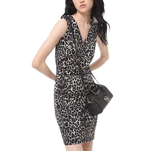 Michael Michael Kors Leopard Animal Print Scuba Dress, Regular & Petite Sizes (Gunmetal, Regular/X-Small)