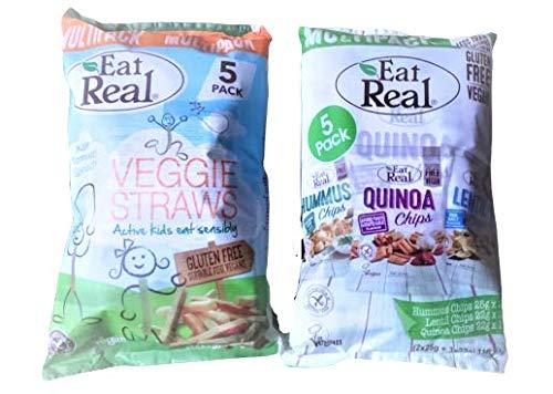 Pajitas vegetarianas auténticas sin gluten para comer sin gluten, paquete de 5 y paquete múltiple de 2 fichas de hummus, 2 papas fritas de lentejas y 1 chips de quinua. 10 paquetes en total