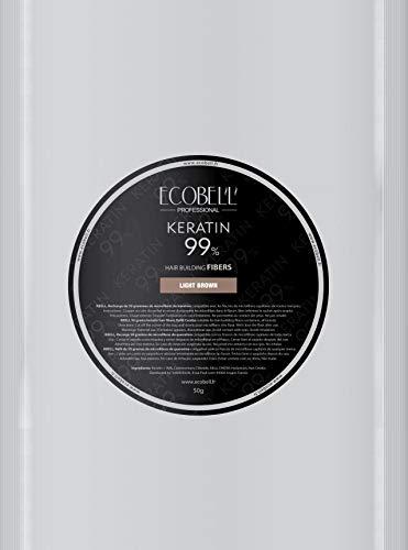 Ecobell Recharge 50g Chatain Clair Poudre de Cheveux Volumatrice Calvitie