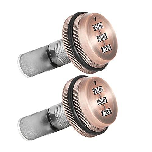 Cerradura de código mecánica Cerradura de gabinete con contraseña de 3 dígitos Aleación de Zinc, para taquillas(Red Copper, 20mm)