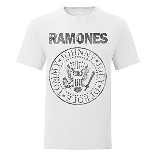 LaMAGLIERIA Camiseta Hombre Ramones Grunge Black Print - Camiseta 100% algodòn, XL, Blanco
