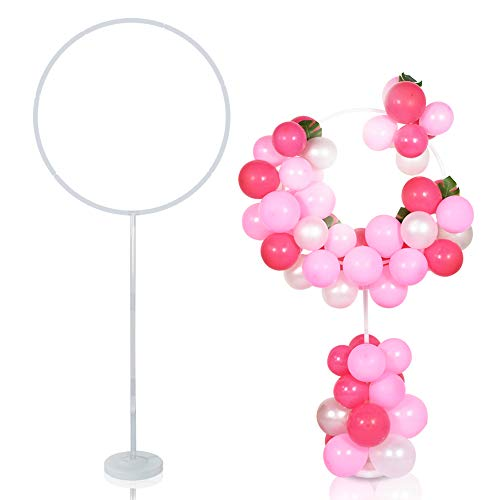 TONIFUL Balloon Garland Arch Kit Round Column Floor Stand Holder with circle Column Floor Stand kit for Women Birthday Wedding Propose Background Party Decoration