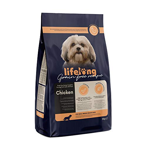 Marca Amazon - Lifelong Alimento seco completo con pollo fresco para perros sénior de razas medianas y grandes, receta sin cereales - 5kg*2