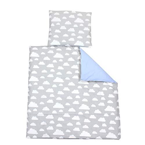 TupTam Unisex Baby Bettwäsche Wiegenset 4-teilig, Farbe: Wolken Weiß/Blau, Größe: 80x80 cm